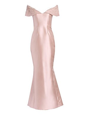 Image of This polished satin gown flaunts origami foldover shoulders with an embellished finish. Seamed in every way, it lends a flattering silhouette. V-neck Short foldover off-the-shoulder sleeves Concealed back zip Exposed seams Satin finish Silk/wool Dry clean