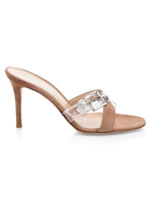 Gianvito Rossi Suede & Clear Buckle-Strap Mules In Gold