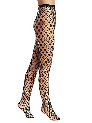 Image of Must-have net tights with sheer and lace detailing. Anti-slip silicone waist-grip Nylon/spandex Machine wash Imported. Lingerie - Designer Hosiery. Natori. Color: Black. Size: Small.