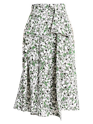 Image of An illustrative floral print patterns this skirt, with its fern green backdrop causing the black-and-white flowers to pop. A unique wrap front injects both movement and a laissez faire spirit into the garment. Concealed side zip closure Asymmetric hems Po