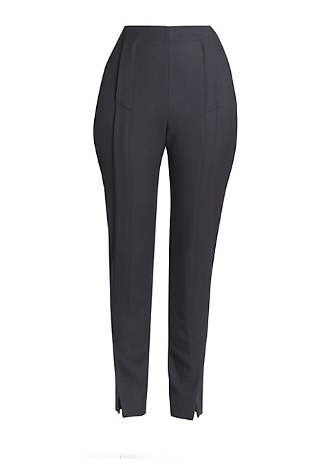 Image of The silhouette of these wool trousers falls somewhere between a jodhpur and a sailor pant. Standout details include the front flap closure, which segues into foldover slits at the ankle for a striking yet simple look. Dual concealed zip closure. Side slas