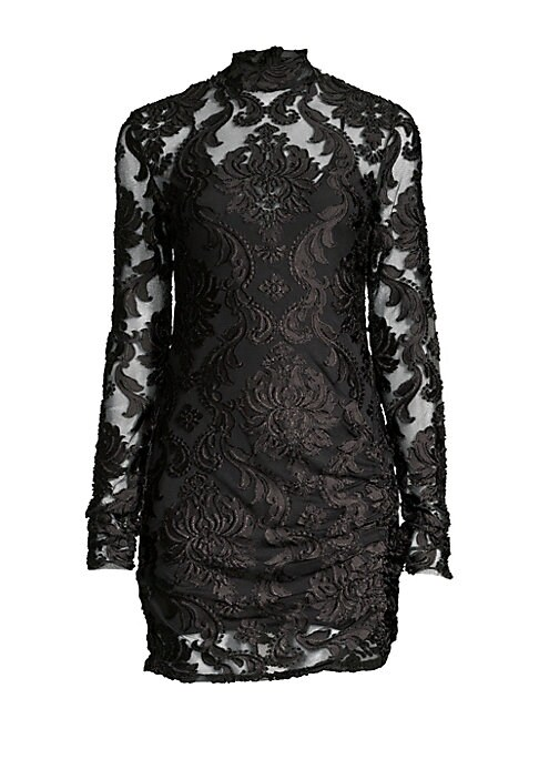 Image of Featuring a dramatic damask pattern in a velvet burnout fabric, this mockneck mini dress is made for showing off the gams. Mockneck. Long sleeves. Concealed back zip closure. Lined. Polyester/nylon/elastane/nylon. Dry clean. Imported. SIZE & FIT. About 37