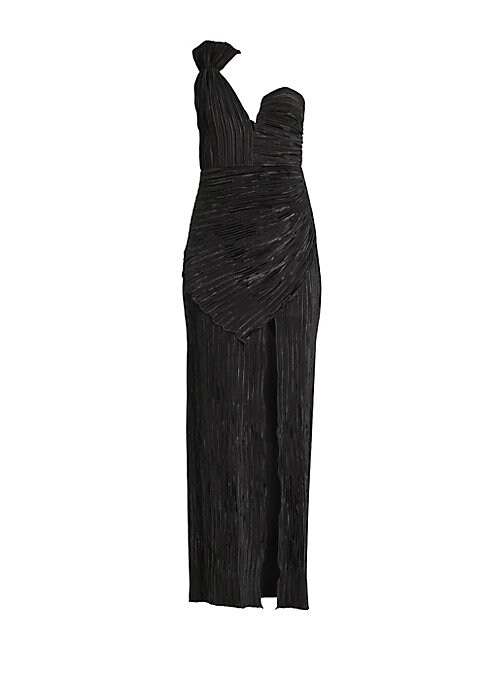 "Image of Make like a modern Greek goddess in this one-shouldered gown crafted from a crushed pleated fabric. Sweetheart neckline. One adjustable shoulder strap. Back zip closure. Side slit. Lined. Polyester. Dry clean. Imported. SIZE & FIT. About 56"" from shoulder"