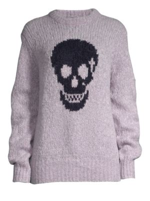 360CASHMERE Madonna Skull Wool-Blend Sweater in Lilac Navy Skull