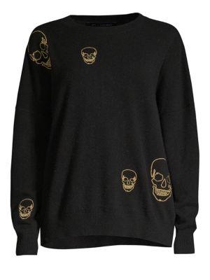 360CASHMERE Metallic Skull Cashmere Sweater in Black Gold