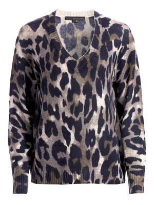360CASHMERE Geraldine Leopard Cashmere Sweater in White Smoke Leopard