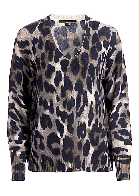 """Image of Bold animal print pullover with a draped silhouette made from cozy cashmere. Ribbed V-neck. Long sleeves. Ribbed cuffs and hem. Pullover style. Cashmere. Dry clean. Imported. SIZE & FIT. About 25"""" from shoulder to hem. Model shown is 5'10"""" (177cm) wearing"""