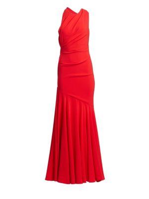 Talbot Runhof Crepe Sleeveless Gown