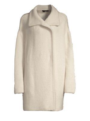 360CASHMERE Elsie Oversized Fuzz Wool-Blend Coat in Limestone