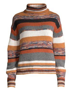 360CASHMERE Elenor Striped Crop Cashmere Turtleneck Sweater in Neutral Multi