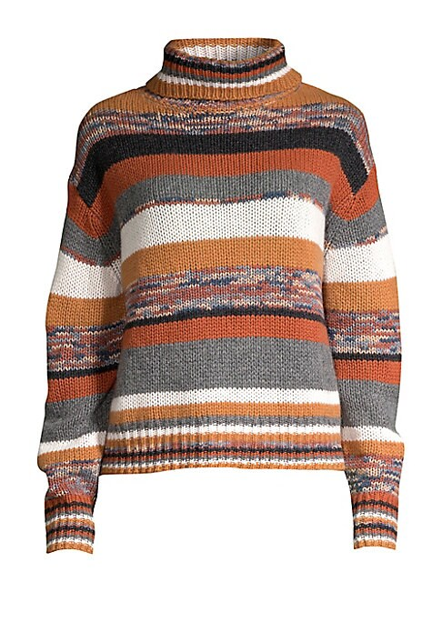 """Image of Chunky-knit pullover with on-trend striped intarsia pattern and ribbed turtleneck. Ribbed mockneck. Long sleeves. Ribbed cuffs and hem. Pullover style. Cashmere. Dry clean. Imported. SIZE & FIT. About 23"""" from shoulder to hem. Model shown is 5'10"""" (177cm)"""
