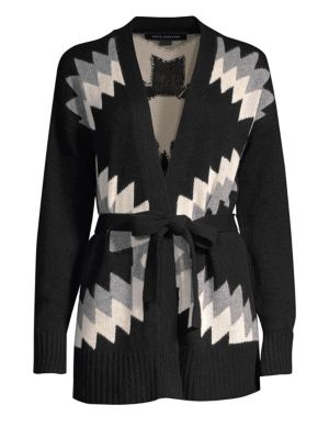 360CASHMERE Moxie Wool & Cashmere Intarsia Tie Cardigan in Black Multi