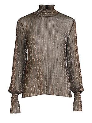 467698f33f6eb9 L Agence - Paola Knit Metallic Top - saks.com