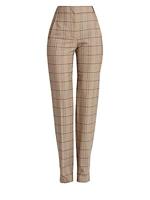 Image of Cut with a high waist, these tapered-leg pants are patterned with a modern plaid. Triangular seaming at the back serves to enhance the figure. Belt loops Zip fly Side seam pockets Back buttoned welt pocket Virgin wool/other fibers Dry clean Made in Italy
