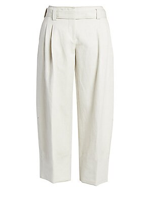 Image of A roomy leg partnered with giant cuffs imbues these pants with an air of insouciance. They're crafted out of a blend of linen and cotton for a breathable garment with a textured finish. Belt loops Zip fly with with removable belt Side slash pockets Back w
