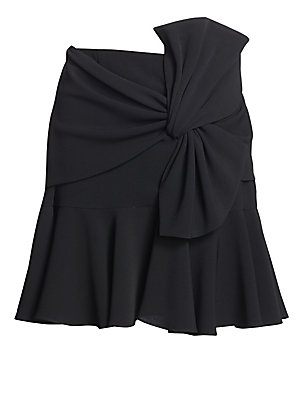 """Image of From the Saks It List: The Mini Skirt Ruffle skirt with gathered oversize knot Concealed closure Triacetate/polyester Dry clean Imported of Japanse fabric SIZE & FIT About 17.25"""" from shoulder to hem Model shown is 5'10 (177cm) wearing US size 4. Contempo"""