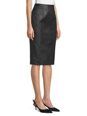 ST. JOHN Leathers Leather Pencil Skirt