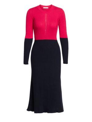Cedric Charlier Colorblock Rib-Knit Dress
