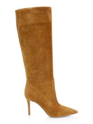 Suede Knee Boots - Med. Brown Size 11.5 in Light Tan