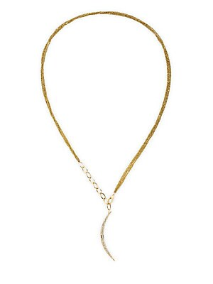 "Image of Delicate 14K yellow gold strand necklace with curved diamond pendant can be worn several ways. Diamond, 0.3 tcw 14K yellow gold Lobster claw clasp Imported SIZE Length, about 30"". Fashion Jewelry - Modern Jewelry Designers. Celara. Color: Gold."