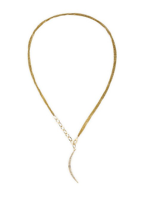 """Image of Delicate 14K yellow gold strand necklace with curved diamond pendant can be worn several ways. Diamond, 0.3 tcw.14K yellow gold. Lobster claw clasp. Imported. SIZE. Length, about 30""""."""