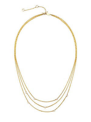 "Image of Delicate layered chain necklace set with twinkling diamond accents. Diamonds, 0.14 tcw 14K yellow gold Toggle bar and ring clasp Imported SIZE Length, about 16"" with 2"" extender. Fashion Jewelry - Modern Jewelry Designers > Saks Fifth Avenue. Celara. Colo"