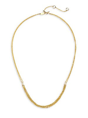 "Image of Delicate 14K yellow gold multi-strand necklace with shimmering diamond accents. Diamond, 0.13 tcw 14K yellow gold Toggle bar & ring closure Imported SIZE Length, about 15"" with 2"" extender. Fashion Jewelry - Modern Jewelry Designers. Celara. Color: Gold."