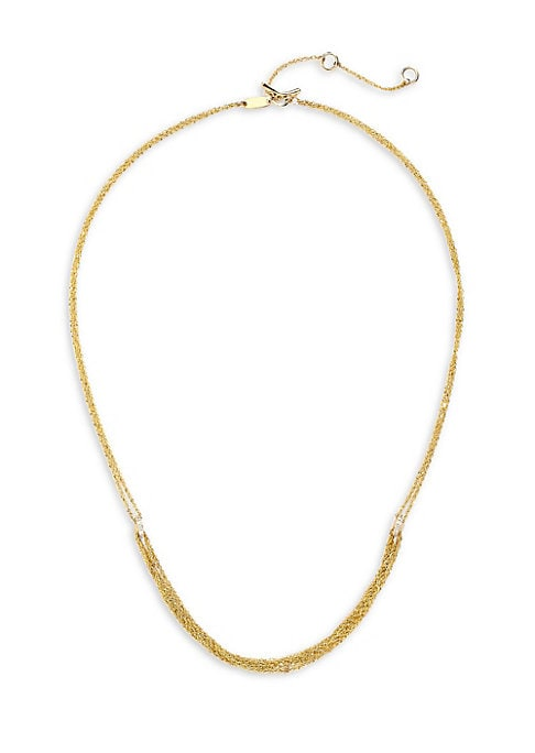 """Image of Delicate 14K yellow gold multi-strand necklace with shimmering diamond accents. Diamond, 0.13 tcw.14K yellow gold. Toggle bar & ring closure. Imported. SIZE. Length, about 15"""" with 2"""" extender."""