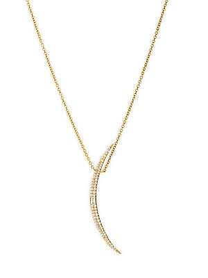 "Image of Dainty 14K yellow gold long chain necklace flaunts a pavé diamond crescent pendant. Diamond, 0.29 tcw 14K yellow gold Lobster clasp close Imported SIZE Length, about 32"". Fashion Jewelry - Modern Jewelry Designers. Celara. Color: Gold."