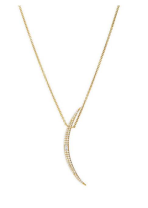 """Image of Dainty 14K yellow gold long chain necklace flaunts a pave diamond crescent pendant. Diamond, 0.29 tcw.14K yellow gold. Lobster clasp close. Imported. SIZE. Length, about 32""""."""