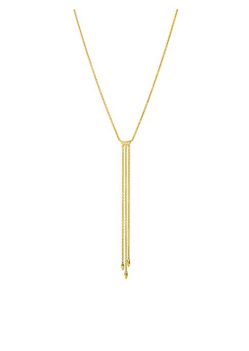 """Image of Delicate 14K yellow gold strands trail from a shimmering diamond half moon. Diamond, 0.03 tcw.14K yellow gold. Clasp closure. Imported. SIZE. Length, about 16"""" with 2"""" extender."""
