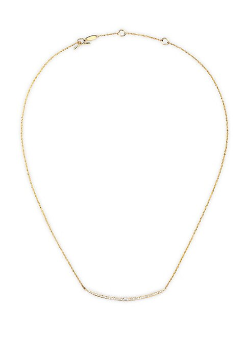 """Image of Delicate 14K yellow gold strand necklace with shimmering diamond bar detail. Diamond, 0.23 tcw.14K yellow gold. Toggle bar & ring closure. Imported. SIZE. Length, about 15"""" with 2"""" extender."""
