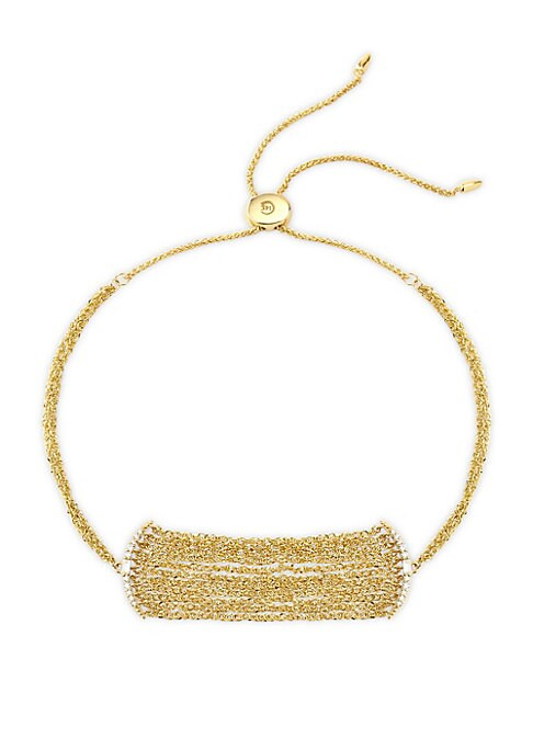 """Image of A delicate statement, this bolo bracelet is crafted from 14K yellow gold. Diamonds, 0.09 tcw.14K yellow gold. Bolo silicon slider clasp. Imported. SIZE. Length, about 10""""."""