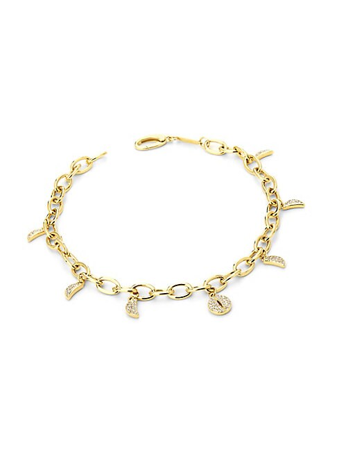 """Image of Classic 14K yellow gold link bracelet dotted with diamond charms representing the moon's phases. Diamond, 0.25 tcw.14K yellow gold. Clasp closure. Imported. SIZE. Length, about 7.25""""."""