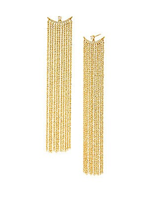 "Image of Delicate 14K yellow gold fringe hang from shimmering diamond half-moon stud earrings. Diamond, 0.15 tcw 14K yellow gold Post back closure Imported SIZE Drop, about 3"". Fashion Jewelry - Modern Jewelry Designers. Celara. Color: Gold."