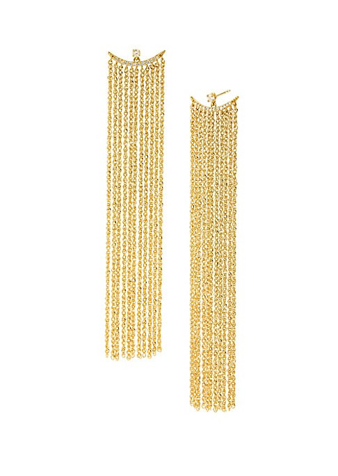 """Image of Delicate 14K yellow gold fringe hang from shimmering diamond half-moon stud earrings. Diamond, 0.15 tcw.14K yellow gold. Post back closure. Imported. SIZE. Drop, about 3""""."""