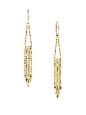 "Image of Dainty chain fringe drop earrings set with pavé diamond and white sapphire accents. Diamonds, 0.19 tcw White sapphire 14K yellow gold Wire back Imported SIZE Drop, about 2"". Fashion Jewelry - Modern Jewelry Designers. Celara. Color: Gold."