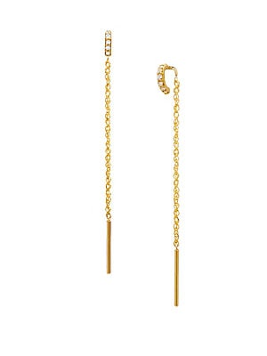 Celara 14k Yellow Gold Diamond Threader Earrings