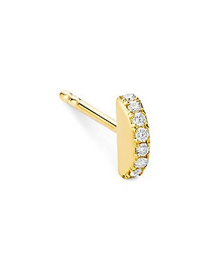 "Image of Dainty single stud earring set with a twinkling row of diamonds. Diamonds, 0.04 tcw 14K yellow gold Post back Imported SIZE Length, about 0.2"". Fashion Jewelry - Modern Jewelry Designers. Celara. Color: Gold."