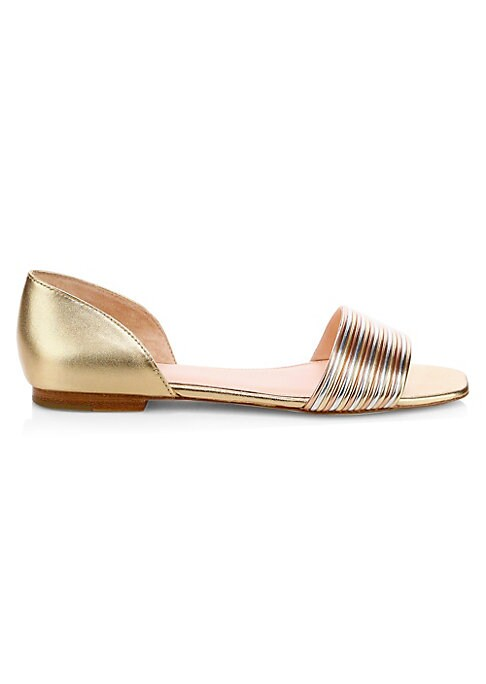 """Image of Textured tricolor metallic sandals are bold footwear essentials. Leather and synthetic upper. Open toe. Slip-on style. Leather lining and sole. Imported. SIZE. Block heel, 0.5"""" (12.7mm)."""