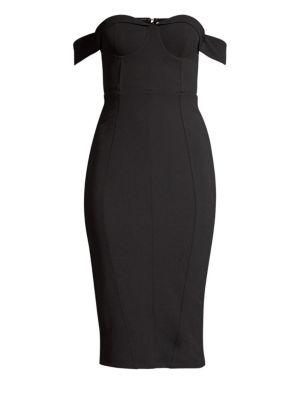 MISHA COLLECTION Chloe Off-The-Shoulder Sheath Dress in Black