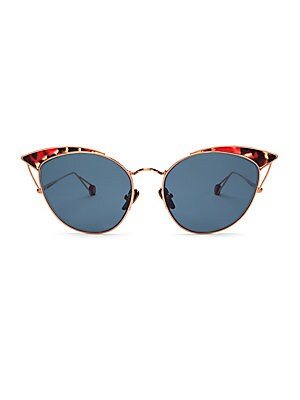 Image of Chic metal cat-eye sunglasses finished with tortoise shell accents. Hydrophobic lenses enhance clarity and protect against water and smudging Palladium electroplated gold Acetate 100% UV protection Made in France SIZE Lens width, 53mm Bridge width, 18mm T