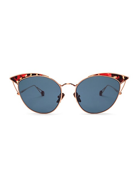 Image of Chic metal cat-eye sunglasses finished with tortoise shell accents. Hydrophobic lenses enhance clarity and protect against water and smudging. Palladium electroplated gold. Acetate.100% UV protection. Made in France. SIZE. Lens width, 53mm. Bridge width,