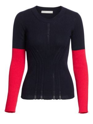 Crewneck Long-Sleeve Colorblock Pointelle-Knit Sweater in Red Navy