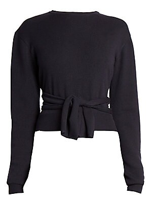 Image of Flipping the idea of the wrap front top around, this sweater features back panels that hug the body and tie in the front. A fine-gauge knit adds to the elegance of the fit. Crewneck Long sleeves Ribbed cuffs and hems Pullover style Dropped shoulders Self-