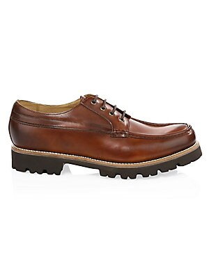 Image of Smooth leather lace-up shoes with a thick sole. Leather upper Lace-up closure Rubber sole Imported. Men's Shoes - Mens Classic Footwear > Saks Fifth Avenue. Grenson. Color: Tan. Size: 10.5.
