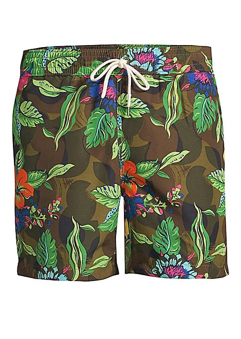 """Image of Colorful, tropical florals meet rugged camo in these lined swim trunks, which also match one of Polo Ralph Lauren's hooded T-shirts. Elastic drawstring waistband. Side on-seam pockets. Back right buttoned pocket with a metal drainage grommet. Woven """"Polo"""