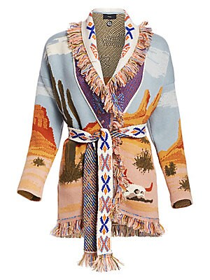 Image of Bold and opulent, this lurex knit cardigan showcases a rustic desert scenery. Flaunting multicolor boho fringes and patterns, this piece embodies frees spirited eccentricity. Shawl collar Long sleeves Self-tie waist Fringed trim Knit finish Cashmere Made