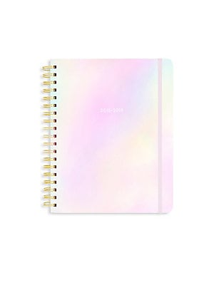 Image of A pretty pearlescent hardcover planner with color-coded month tabs and sticker pages for you to mark all your special to-dos! 340 100 gsm wood-free paper pages 13-month calendar format Double-sided pocket page Three sticker pages One virtual reality page