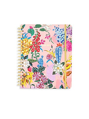 Image of A vivid floral ardcover planner with color-coded month tabs and sticker pages for you to mark all your special to-dos! 340 100 gsm wood-free paper pages 13-month calendar format Double-sided pocket page Three sticker pages One virtual reality page One col